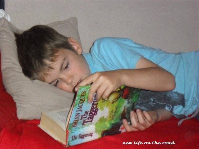 reading books inside when it rains