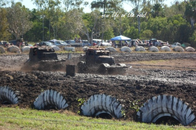 racing through mud at Sarina Show Grounds
