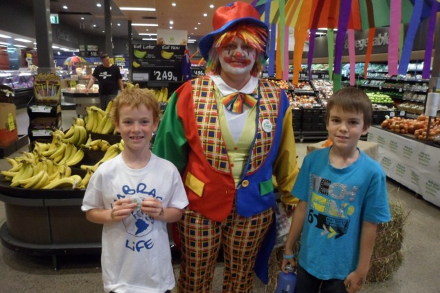 At Woolworths with a clown