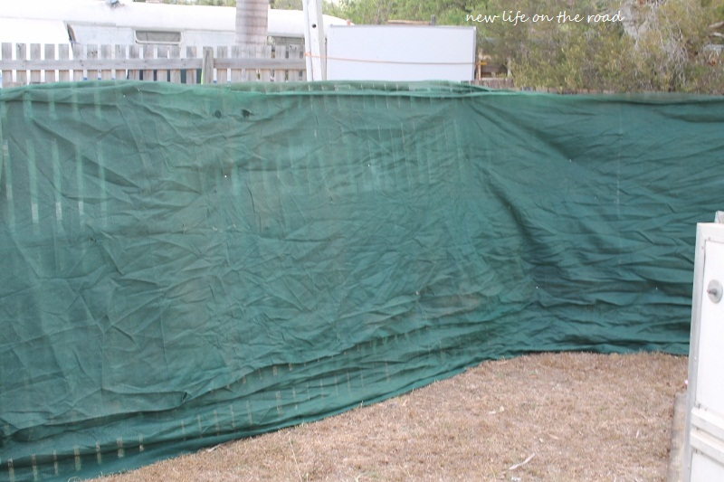 The Army Bunker wrapped in Green Shade Cloth