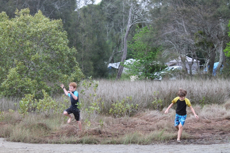 Kyle and Cameron chasing through the bushland