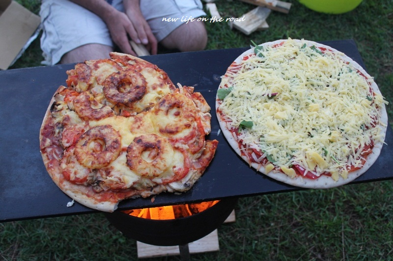 Cooking the Pizza on the open fire gives it a yummy taste