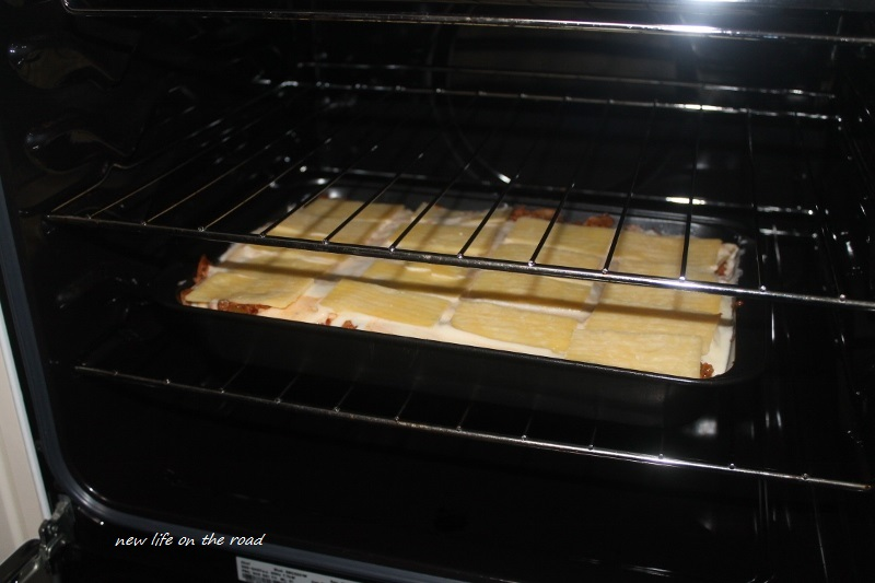 Lasagne into the oven