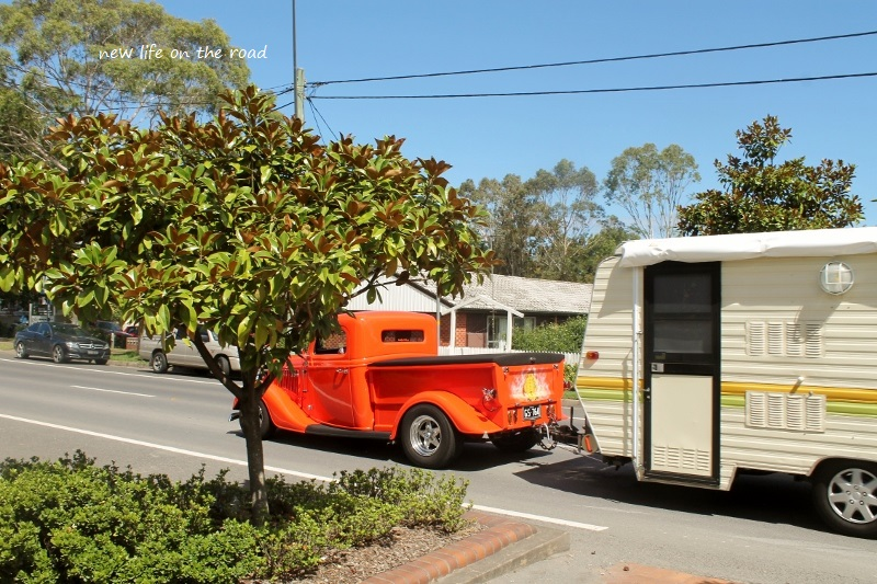 Older car and caravan