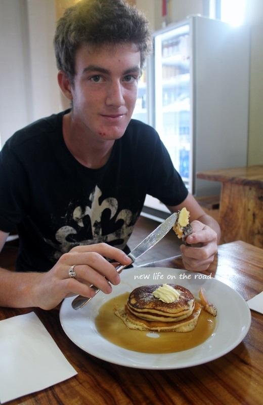 Nicholas eating pancakes