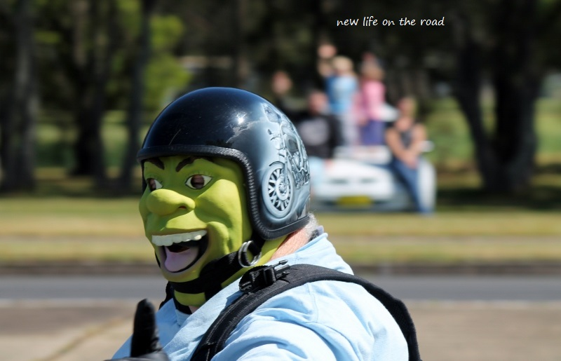 Shrek went by on the Motorbike