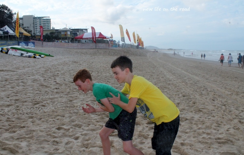 Playing at Maroochydore Beach