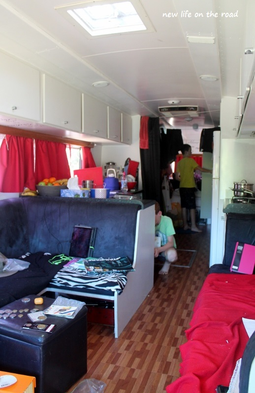 sorting out the inside of the motorhome