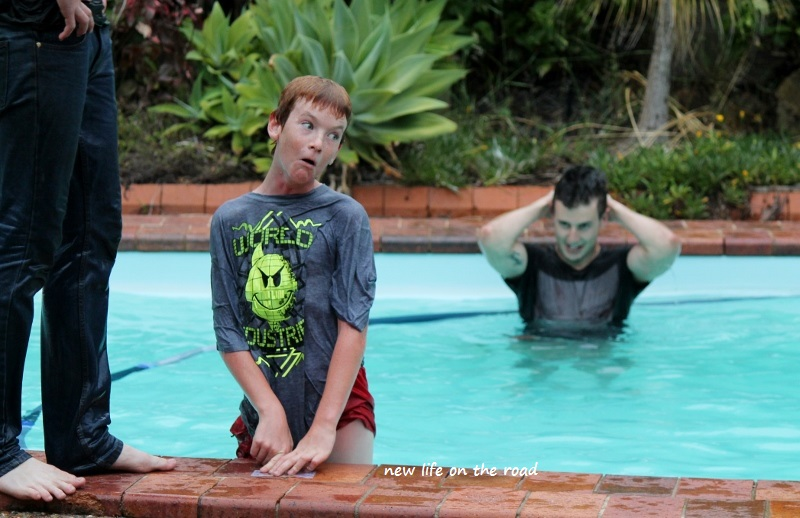 Kyle and Hayden playing in the pool