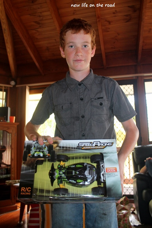 Kyle with his remote control car