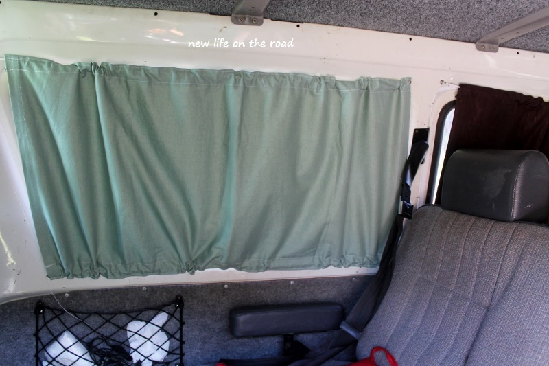 Green Curtains for the Campervan