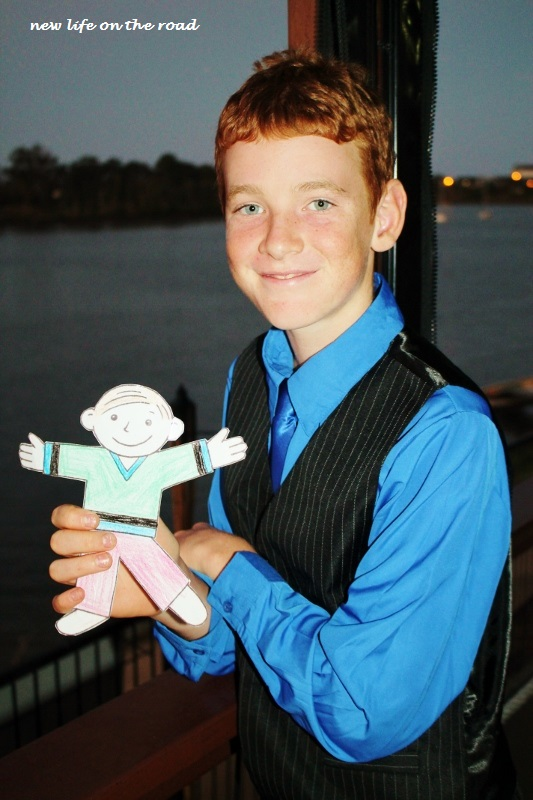 Flat Stanley out for dinner