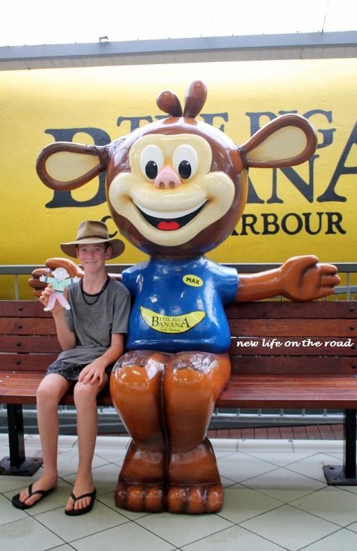 Kyle and Flat Stanley at the Big Banana