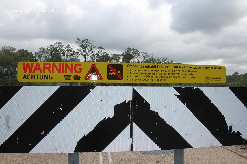 Croc Signs at Calliope Free Camping